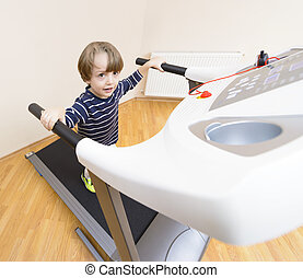 Boy running treadmill
