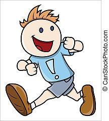 Boy Running - Vector Illustrations