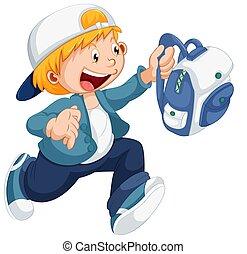 Boy running with a schoolbag illustration
