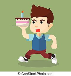boy running with cake