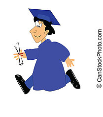 boy running with his diploma