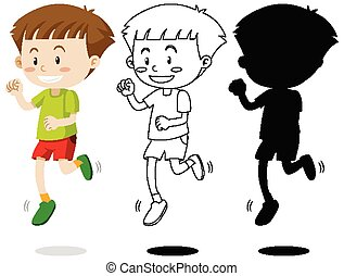 Boy running with its outline and silhouette