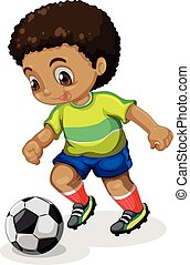 Boy running with soccer ball