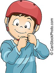 Boy Safety Helmet - Illustration of a Little Boy Adjusting...