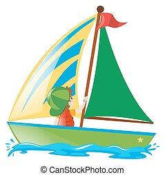 Boy sailing boat in the sea