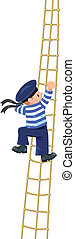 Boy-sailor climbing the shrouds