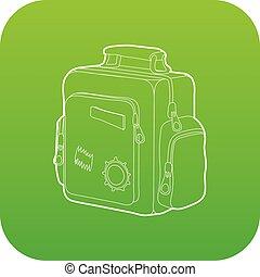 Boy school bag icon green vector