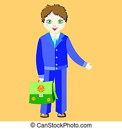 Boy schoolboy in uniform with a green Girl schoolgirl in uniform with blue bows holding a pink schoolbag. Character in the cartoon style. Image in a flat style on a orange background