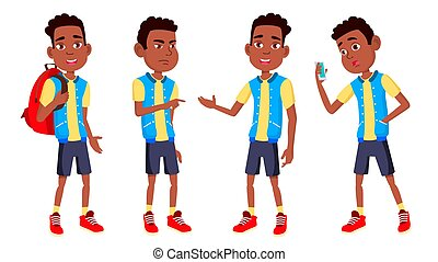 Boy Schoolboy Kid Poses Set Vector. High School Child. Black. Afro American. Children Study. Knowledge, Learn, Lesson. For Advertising, Placard, Print Design. Isolated Cartoon Illustration