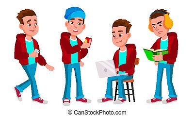 Boy Schoolboy Kid Poses Set Vector. High School Child. Child Pupil. Subject, Clever, Studying. For Postcard, Announcement, Cover Design. Isolated Cartoon Illustration