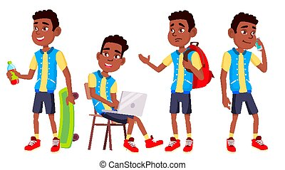 Boy Schoolboy Kid Poses Set Vector. High School Child. Classmate. Teenager, Classroom, Room. Black. Afro American. For Advertising, Booklet, Placard Design. Isolated Cartoon Illustration