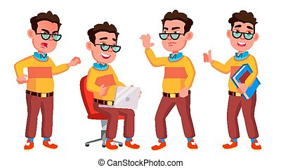 Boy Schoolboy Kid Poses Set Vector. High School Child. Secondary Education. Casual Clothes, Friend. For Advertisement, Greeting, Announcement Design. Isolated Cartoon Illustration