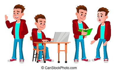 Boy Schoolboy Kid Poses Set Vector. High School Child. Secondary Education. Educational, Auditorium, Lecture. For Card, Advertisement, Greeting Design. Isolated Cartoon Illustration