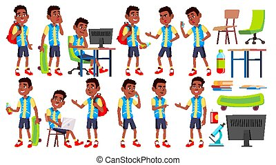Boy Schoolboy Kid Poses Set Vector. High School Child. Teenage. Black. Afro American. Book, Workspace, Board. For Web, Brochure, Poster Design. Isolated Cartoon Illustration