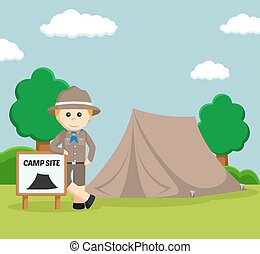 boy scout at camping site