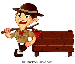 Boy scout cartoon leaning on wooden plank isolated in white...