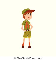 Boy scout character in green uniform vector Illustration on a white background