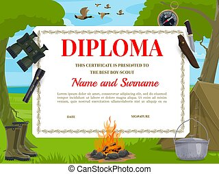 Boy scout diploma template with camping equipment