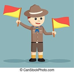 boy scout doing semaphore