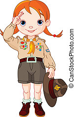 Boy scout girl doing a hand sign - Young happy boy scout...