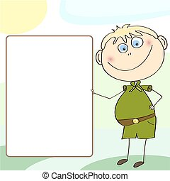 Boy Scout holding a blank sign for your message. banner