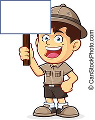 Boy Scout Holding a Blank Sign - Vector clipart picture of a...