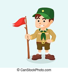 boy scout holding flag