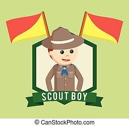 Boy scout in emblem