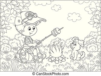 Little boy-scout and his small pup cooking toast on camp-fire on a glade of a forest on a sunny summer day, black and white vector illustration in a cartoon style for a coloring book