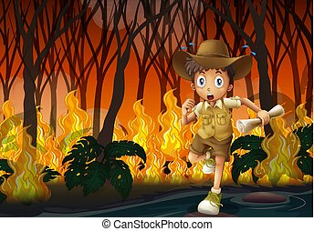 Boy scout running away from wildfire illustration