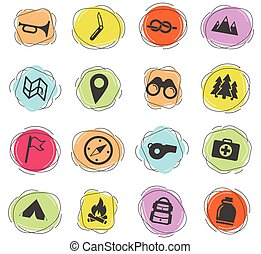 Boy scout color vector icons for web and user interface