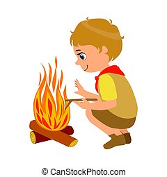 Boy scout squatting near the bonfire, a colorful character