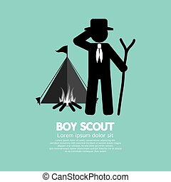 Boy Scout Standing In Front Of Tent