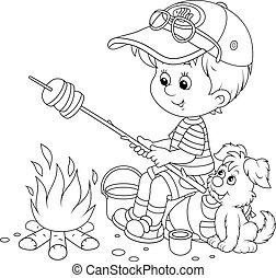 boy-scout, torréfaction, pain, sur, feu camp