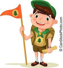 Boy scout. Vector flat illustration