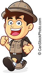 Vector clipart picture of a Boy Scout or Explorer Boy cartoon character Walking