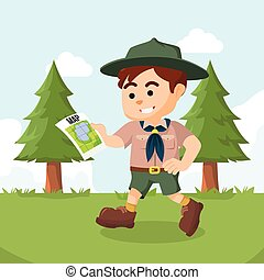 boy scout walking with map
