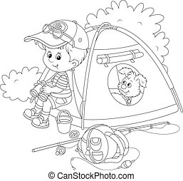 Boy scout with a camping tent