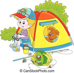 Boy scout with a camping tent - Vector illustration of a...