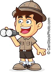 Vector clipart picture of a Boy Scout or Explorer Boy cartoon character with Binoculars