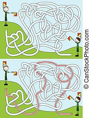 Boy scouts maze for kids with a solution