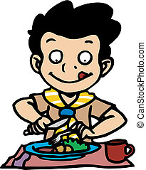 Boy scout\'s meal - Boy scout having a meal