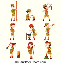 Boy scouts set, boys in scout costumes with hiking equipment, summer camp activities vector Illustrations on a white background