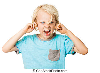 A young angry boy screaming and blocking his ears. Isolated on white.