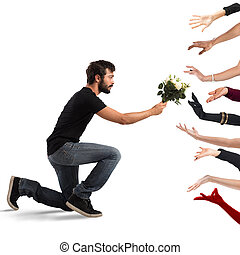 Boy seducer - Seducer boy handing flowers to many women