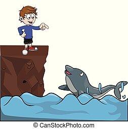 boy see dolpin in sea vector illustration