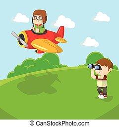 Boy seeing plane with binocular