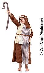 boy shepard - 4 year old boy in nativity play dressed as...