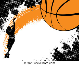 Boy Shooting a Basketball - Basketball background...