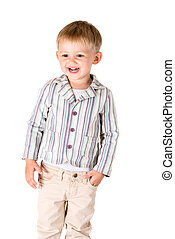 Boy shot in the studio on a white background laughing